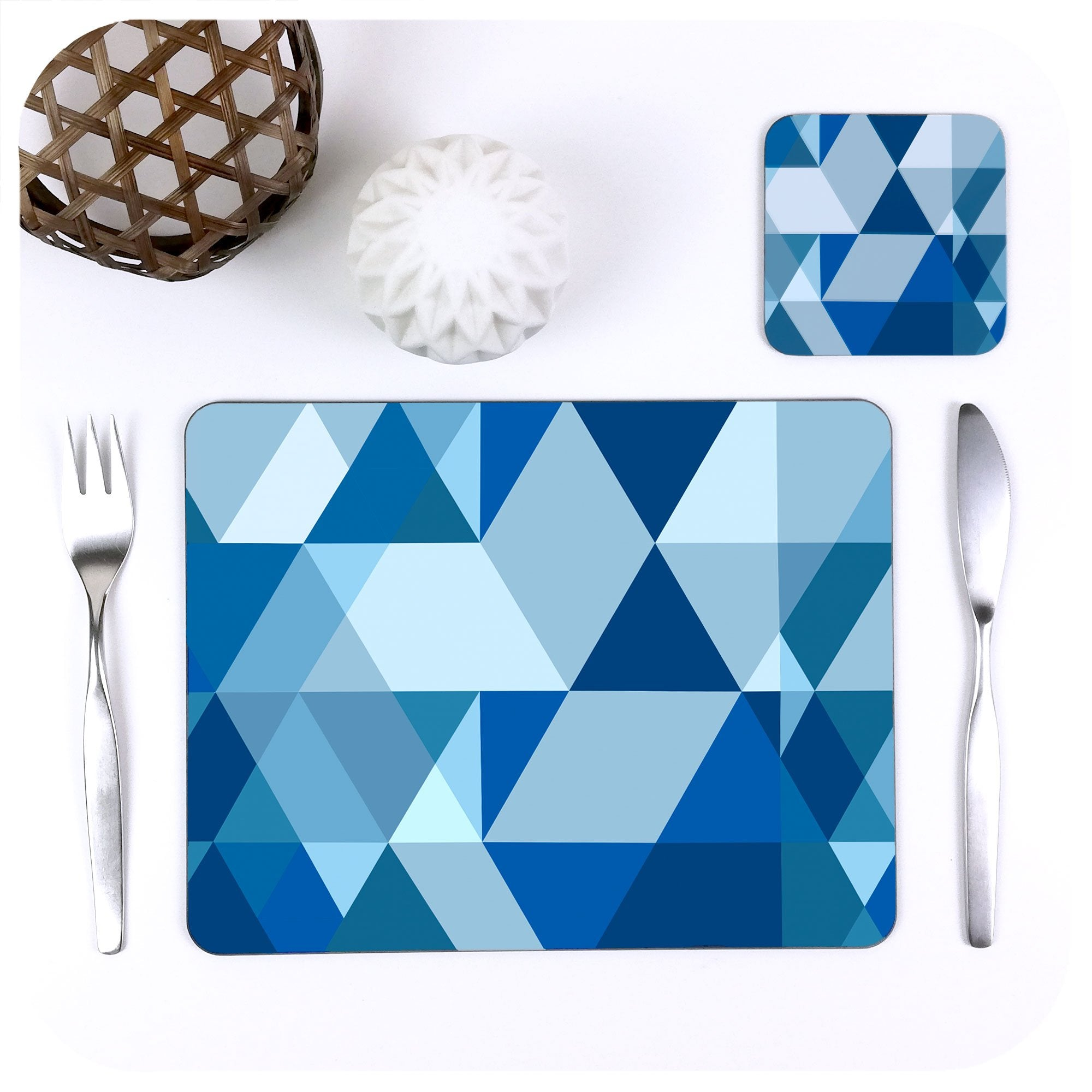 Scandi Geometric Placemat & Coaster Set, in Blue | The Inkabilly Emporium
