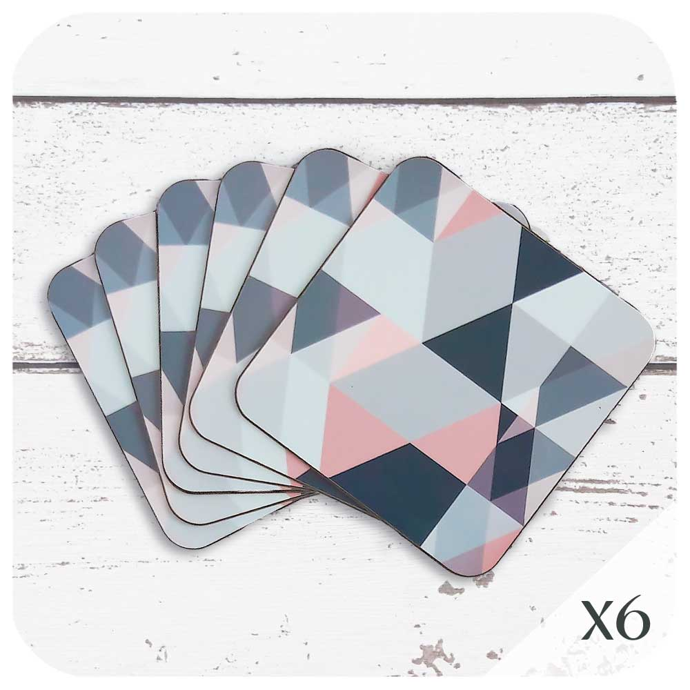 Scandi Geometric Coasters in Blush Pink and Grey | The Inkabilly Emporium