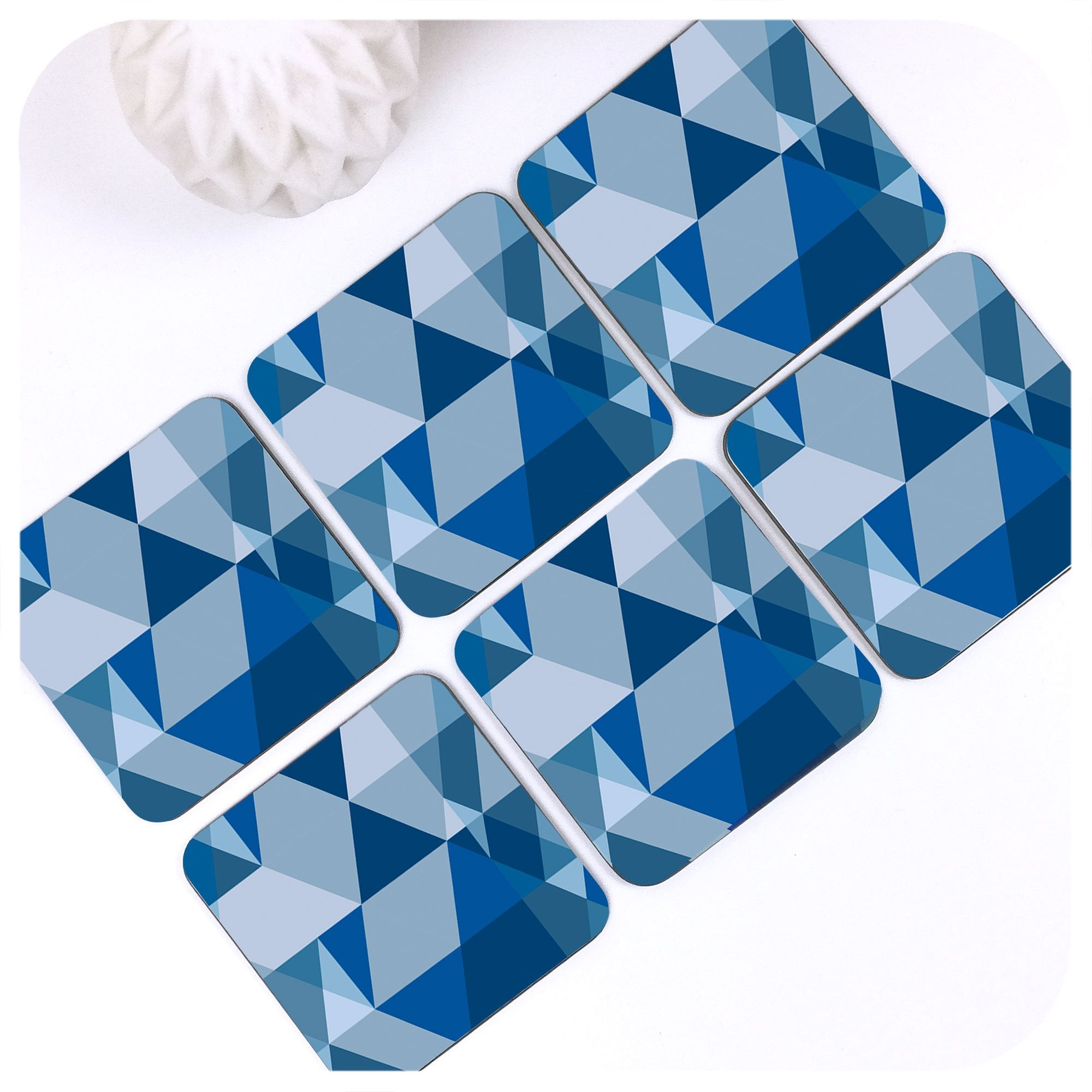 Scandi Geometric Coasters in Blue, set of 6 | The Inkabilly Emporium