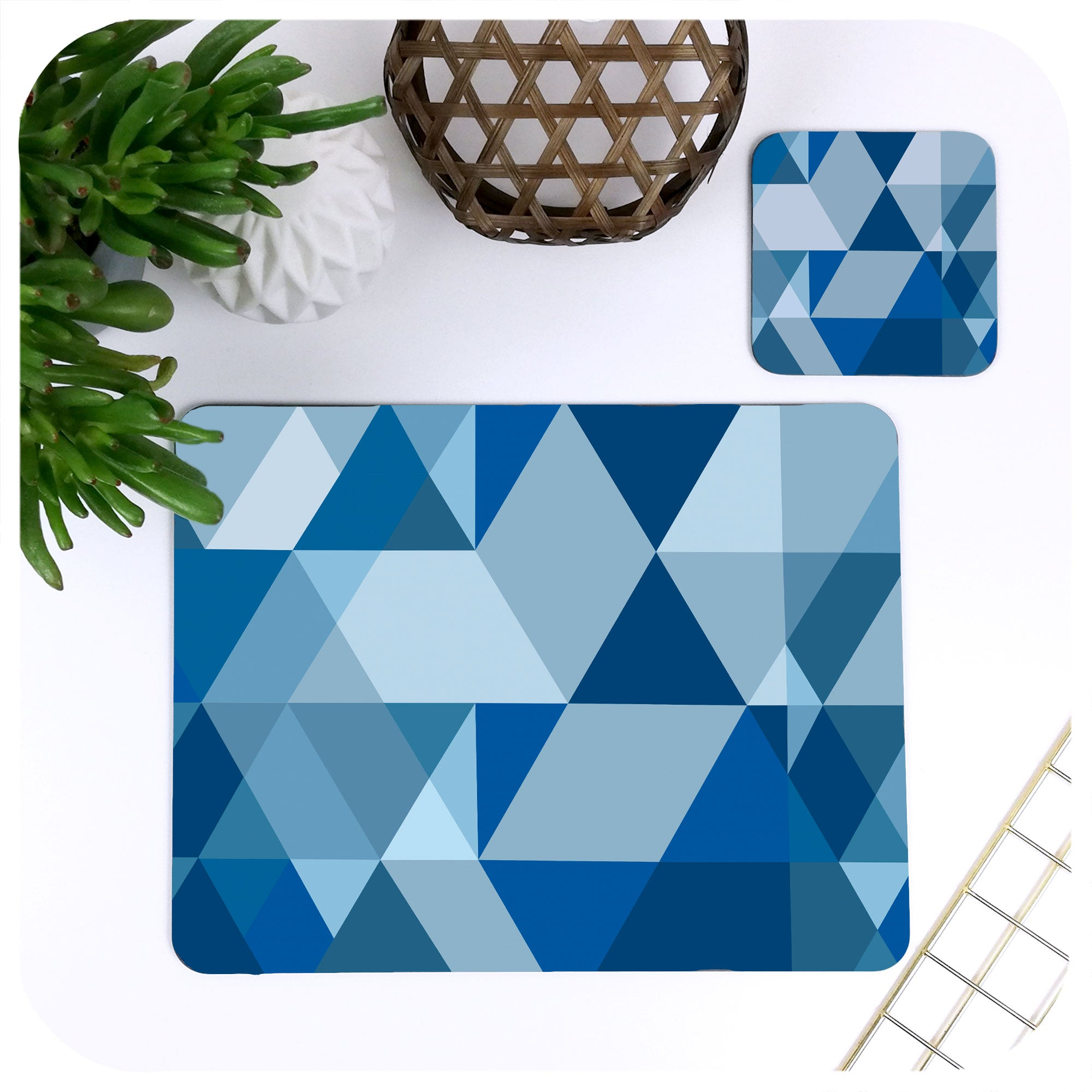 Scandinavian Geometric Tableware in Blue, one placemat and matching coaster | The Inkabilly Emporium