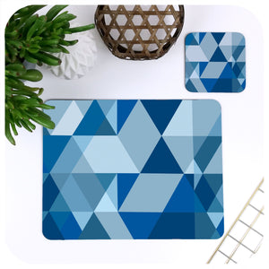 Scandi Geometric Placemat & Coaster Set in Blue | The Inkabilly Emporium