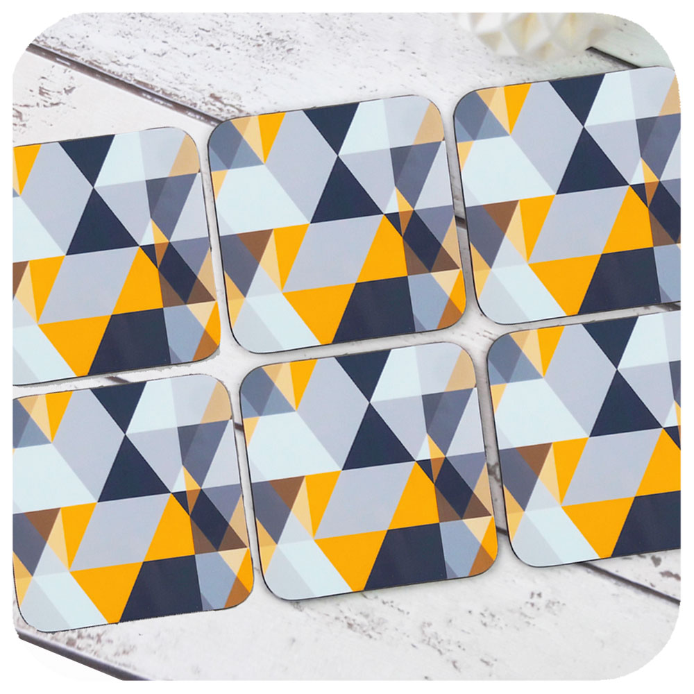 Grey & Yellow Geometric Scandi Coasters, set of 6 | The Inkabilly Emporium