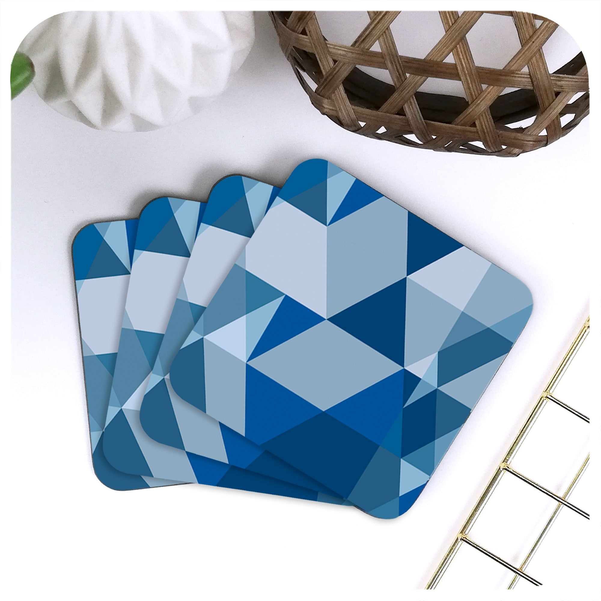 Scandi Geometric Coasters in Blue and Grey, set of four displayed in a fan | The Inkabilly Emporium