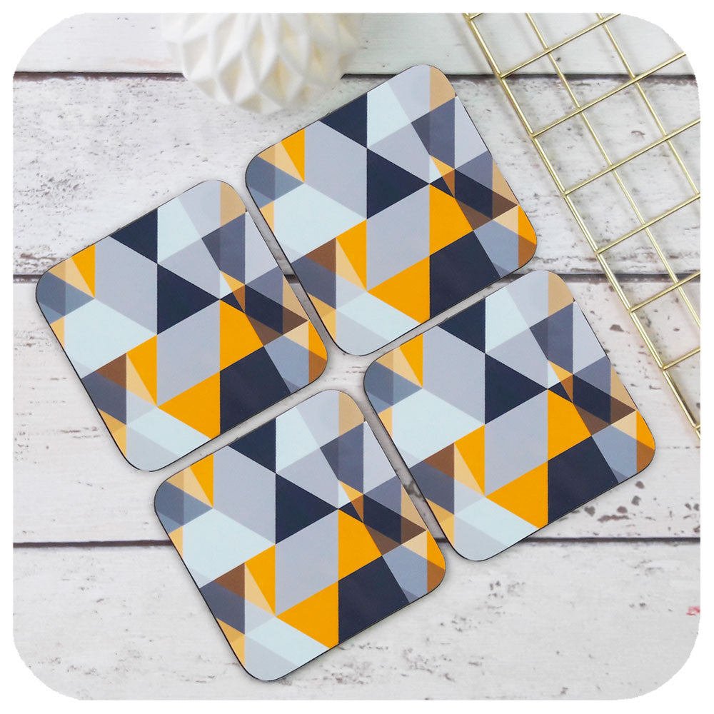 Scandi Geometric Coasters, set of four  | The Inkabilly Emporium