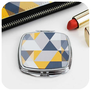 Scandi Geometric Compact Mirror - yellow & grey | The Inkabilly Emporium