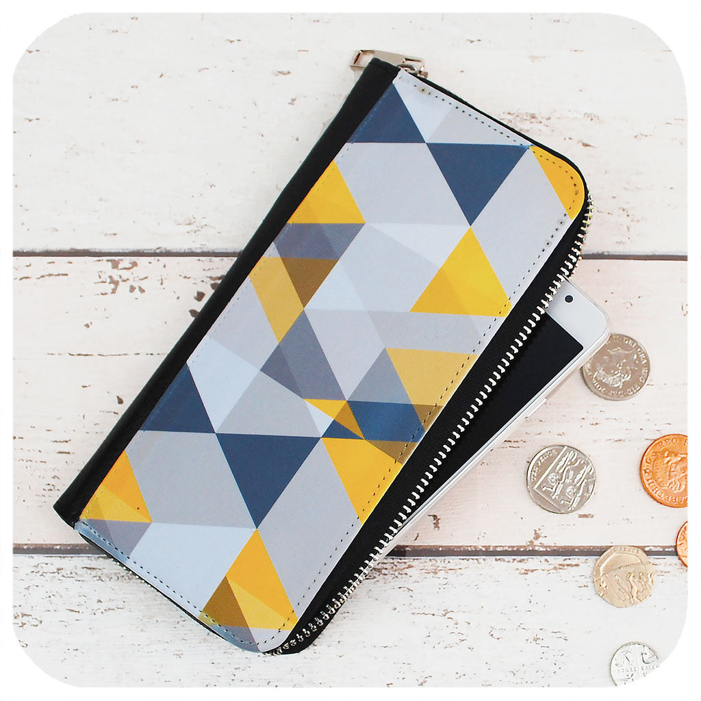 Scandi Geometric purse - yellow & grey | The Inkabilly Emporium