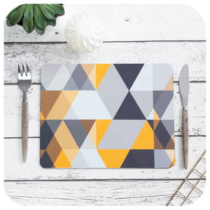 Scandi Geometric Placemats in Yellow & Grey | The Inkabilly Emporium