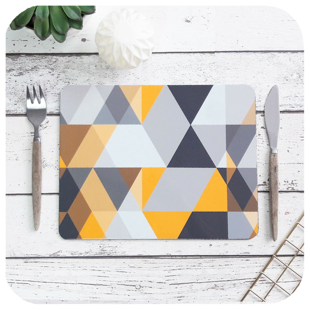 Scandi Geometric Placemat in mustard yellow and grey geometric pattern | The Inkabilly Emporium