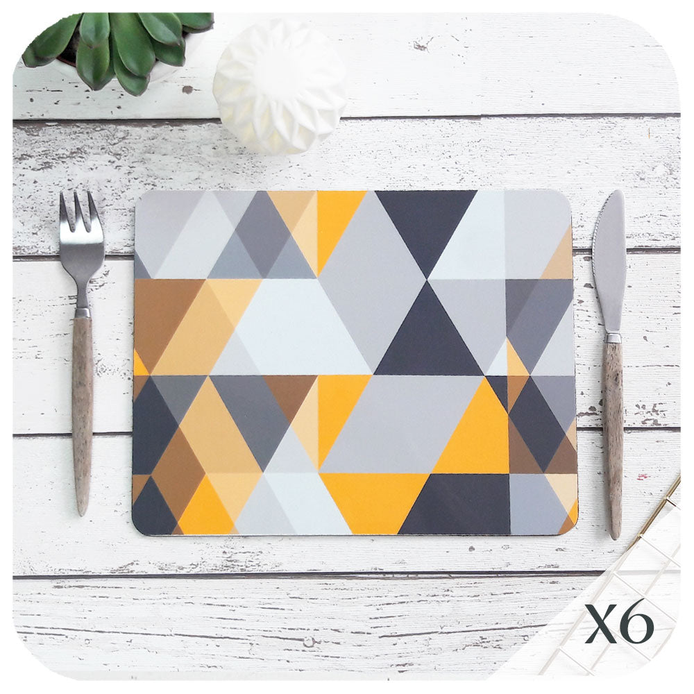 Scandi Geometric Placemats, set of 6 | The Inkabilly Emporium
