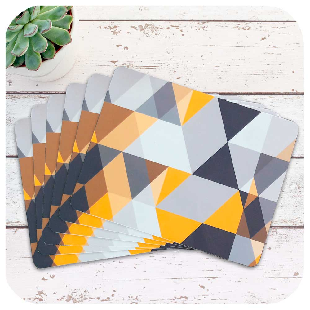 Set of 6 Scandi Geometric Placemats in Yellow & Grey | The Inkabilly Emporium