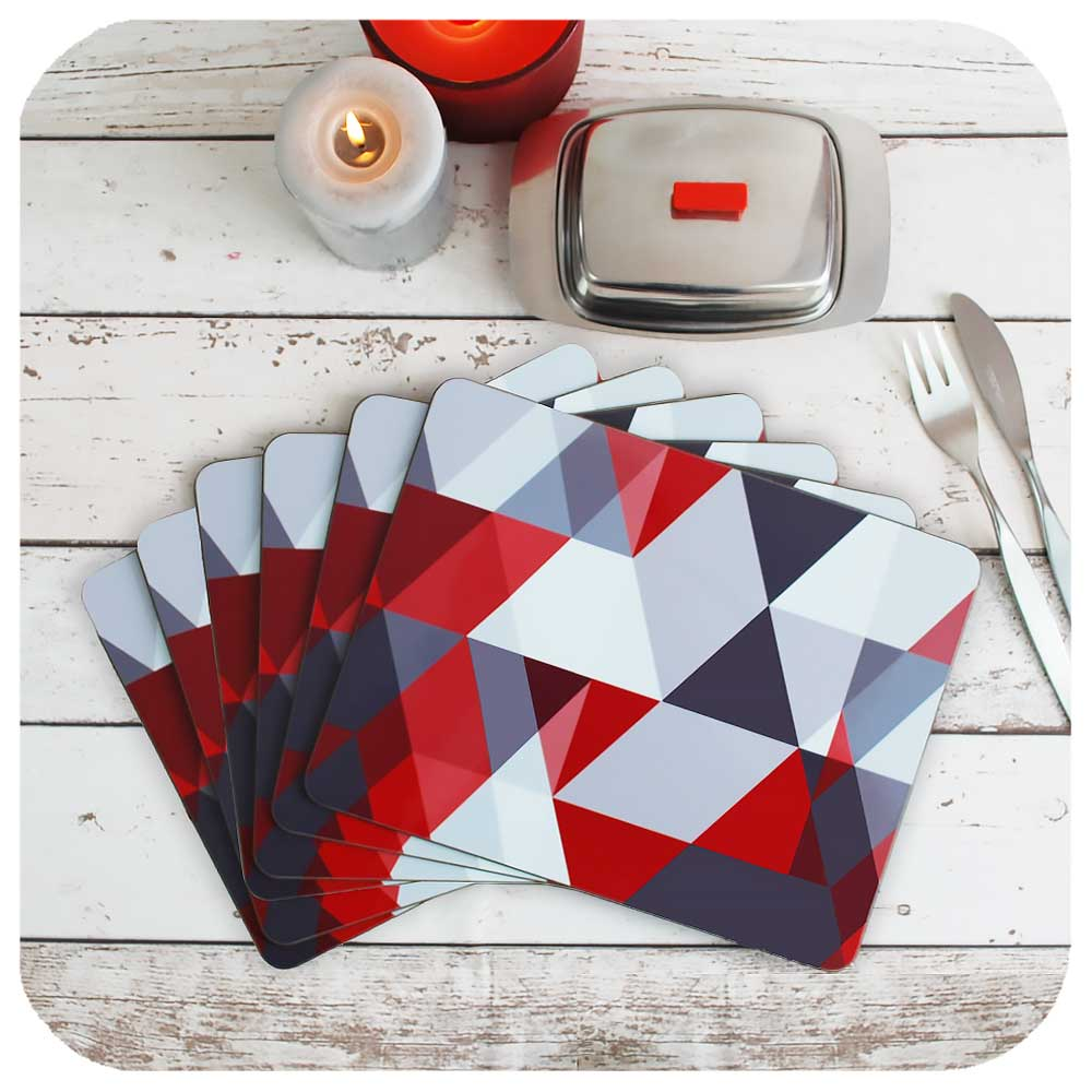 Set of 6 Red & Grey Scandi Placemats | The Inkabilly Emporium