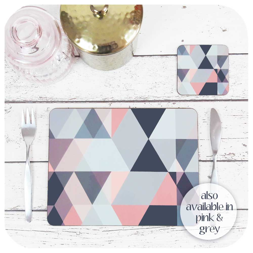 Scandi Geometric Placemat and coaster in Blush Pink and Grey, with vintage cutlery and cannisters | The Inkabilly Emporium