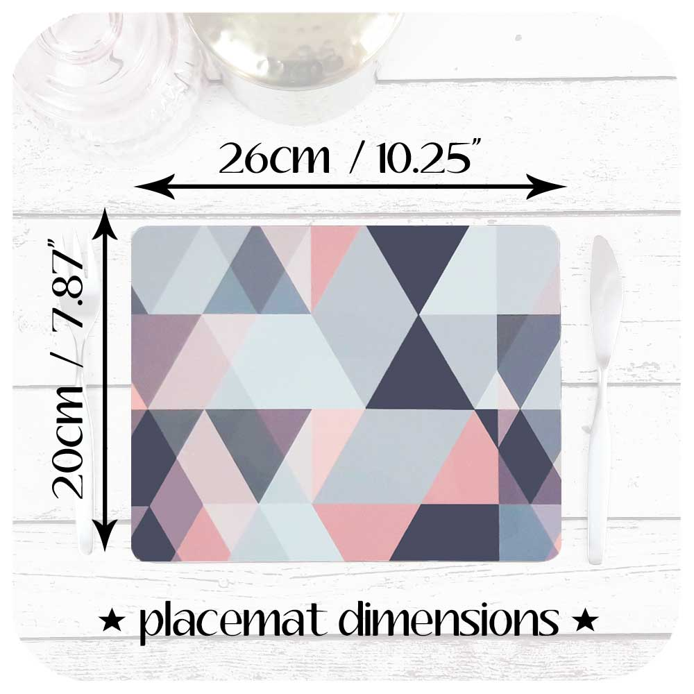 Dimensions of our Pink and Grey Scandi Geometric Placemats 20cm x 26cm | The Inkabilly Emporium