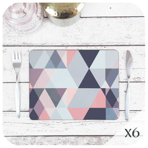 Scandi Geometric Placemats in Blush Pink and Grey, set of 6 | The Inkabilly Emporium