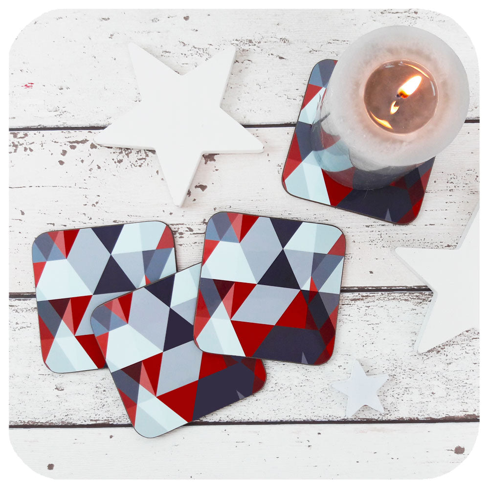 Scandi Coaster set in Geometric Red and Grey  | The Inkabilly Emporium