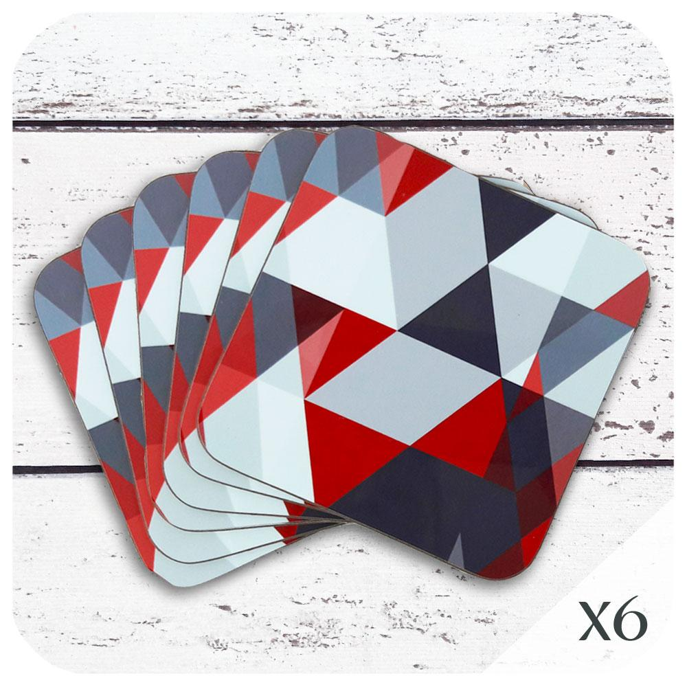Scandi Geometric Coasters in Red and Grey, Set of 6 | The Inkabilly Emporium