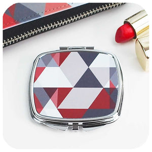 Scandi Geometric Compact Mirror - Red & Grey | The Inkabilly Emporium