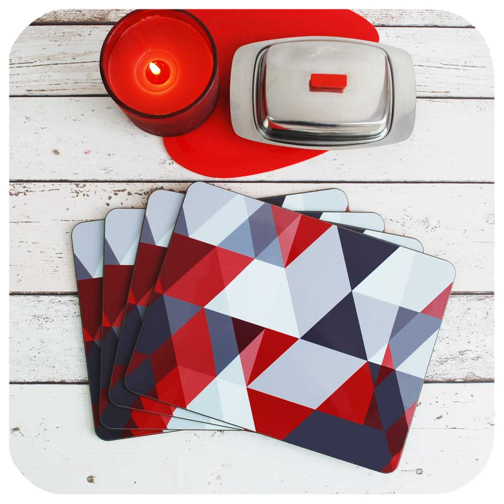 Scandinavian Style Table Mats in Red & Grey | The Inkabilly Emporium