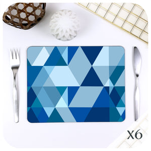Scandi Geometric Placemats in Mid Century Blue, set of 6 | The Inkabilly Emporium