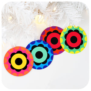 set of 4 retro 60s style christmas tree decorations | The Inkabilly Emporium