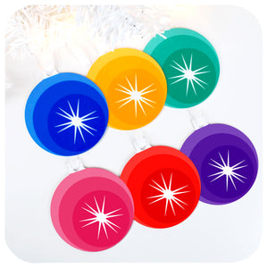 Retro Rainbow Christmas Tree Decorations