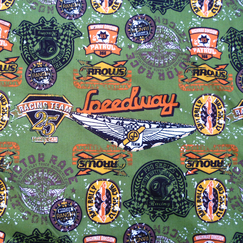Speedway bandana fabric in olive | The Inkabilly Emporium
