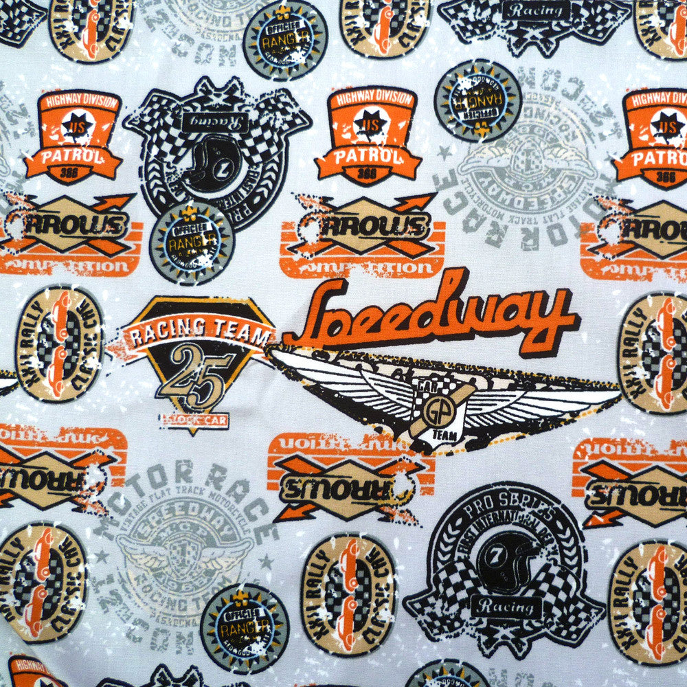 Retro Speedway Bandana fabric in Grey | The Inkabilly Emporium