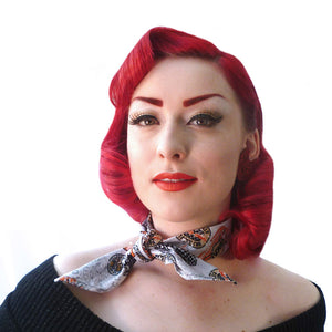 Retro Speedway Bandanas, available in Pale Grey and Olive Green  | The Inkabilly Emporium
