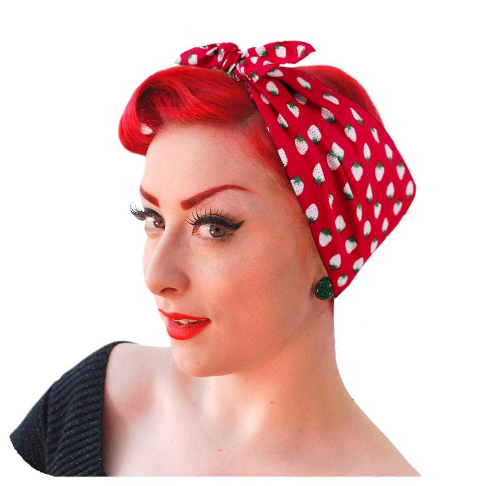 Strawberry Bandana - Headscarf | The Inkabilly Emporium