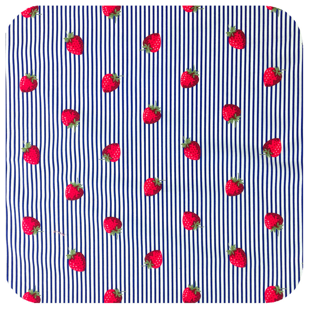 Strawberries & Stripes Bandana fabric close up | The Inkabilly Emporium