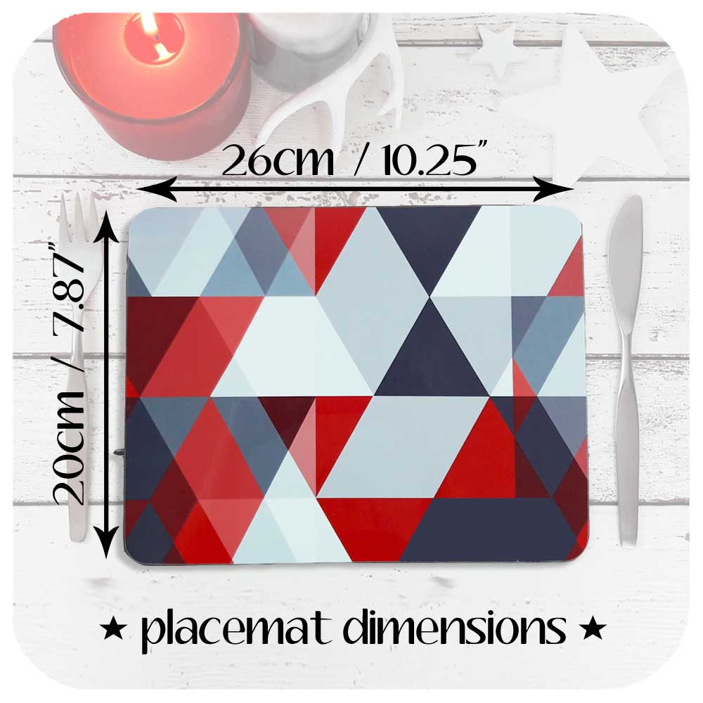 Dimensions of our Scandi Geometric Placemats | The Inkabilly Emporium