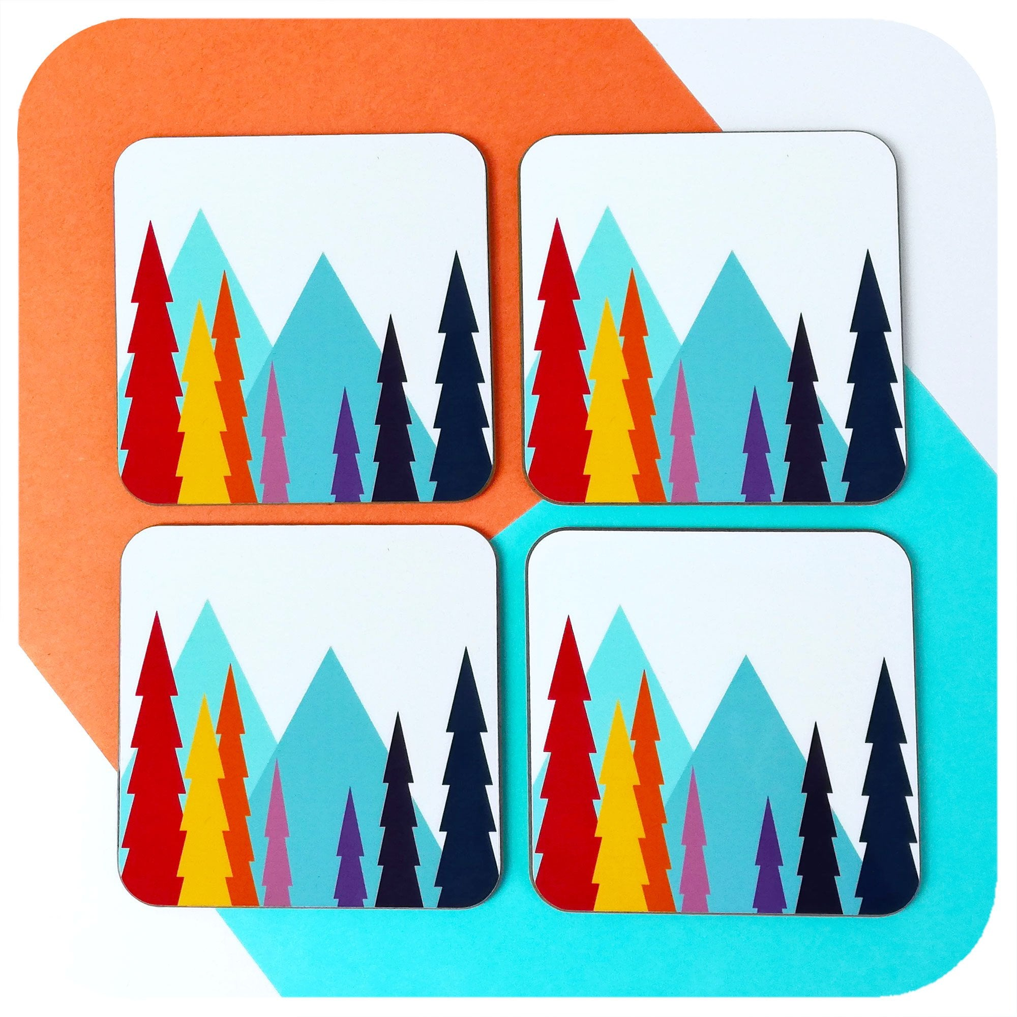 Set of four Scandinavian Geometric Landscape Coasters | The Inkabilly Emporium