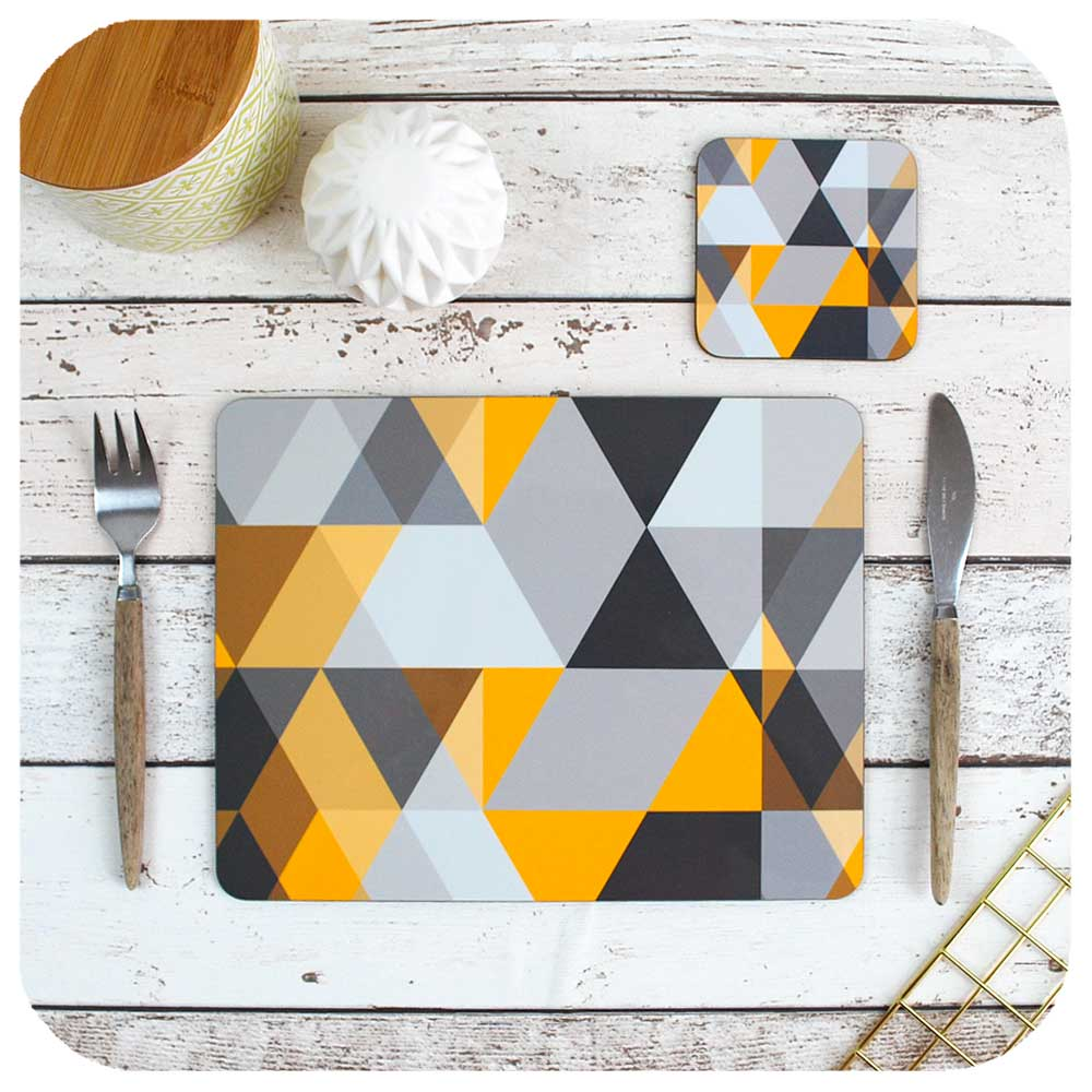 Grey and Mustard Geometric, Scandi Placemats and Coasters  | The Inkabilly Emporium