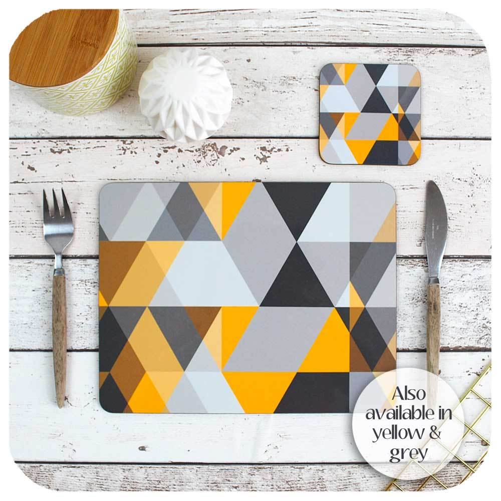 Scandi Geometric Placemat & Coaster Set, in mustard and grey | The Inkabilly Emporium