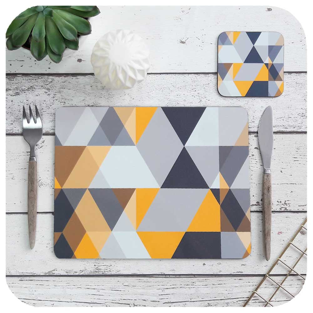 Scandi Geometric, matching Placemat and Coaster  | The Inkabilly Emporium