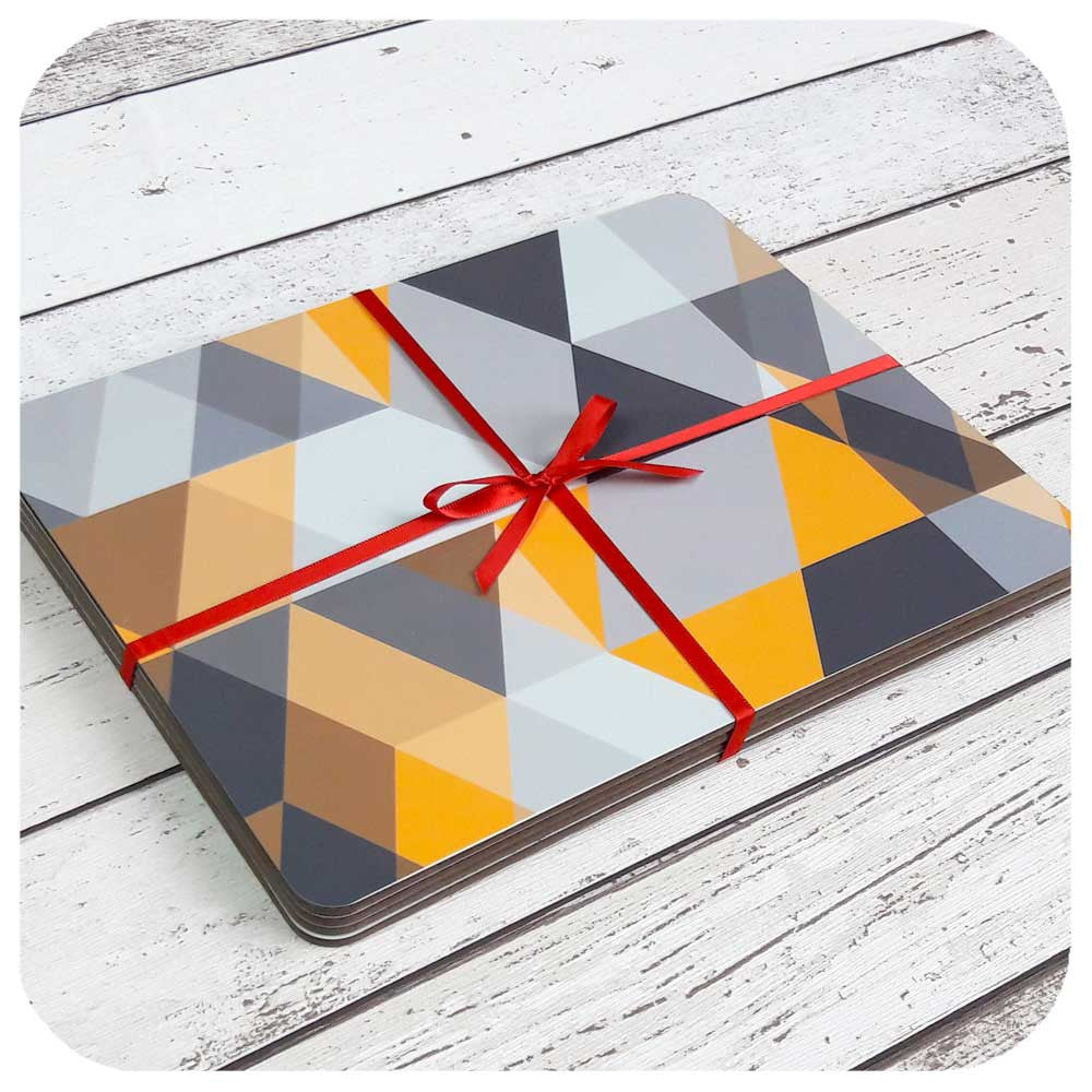 Mustard yellow & grey placemat set, Scandi Geometric design  | The Inkabilly Emporium