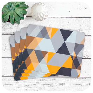 Scandi Geometric Placemat, grey and mustard yellow - as seen in Mollie Makes magazine  | The Inkabilly Emporium