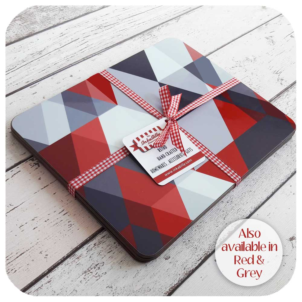 Red and Grey Scandi Geometric Placemats | The Inkabilly Emporium