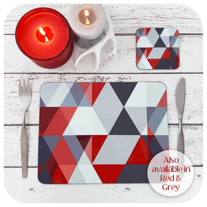 Scandi Geometric Placemat and coaster in Red and Grey, set with cutlery and candles | The Inkabilly Emporium