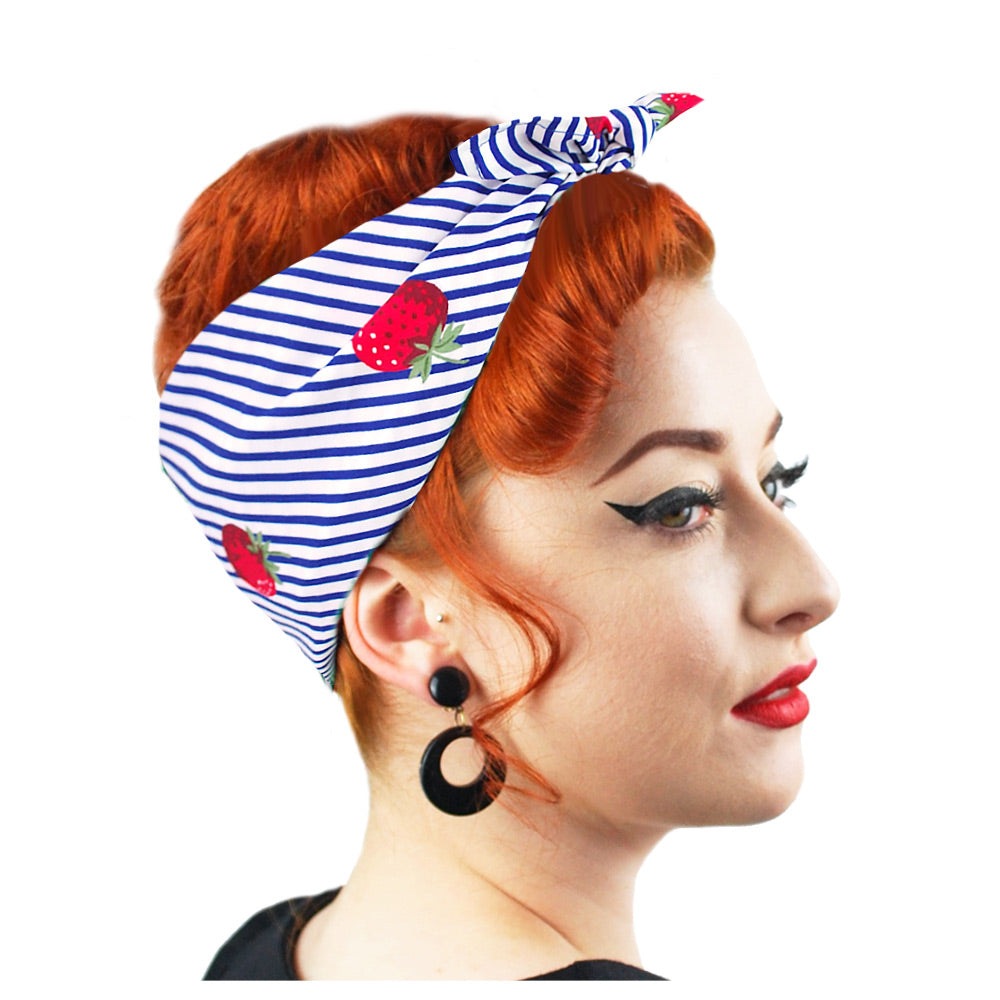 Strawberries & Stripes Bandana, side view | The Inkabilly Emporium