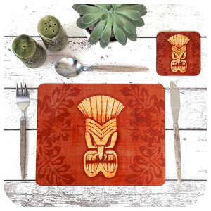 Brown Tiki Mask Placemat & Coaster Set | The Inkabilly Emporium