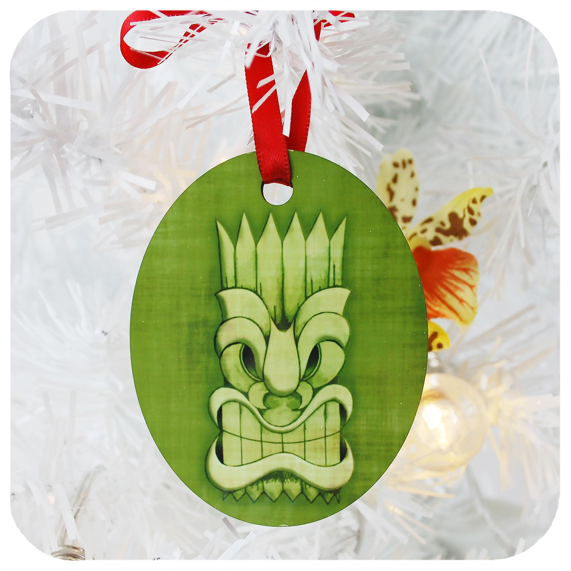 Green Tiki Mask Christmas Decoration | The Inkabilly Emporium