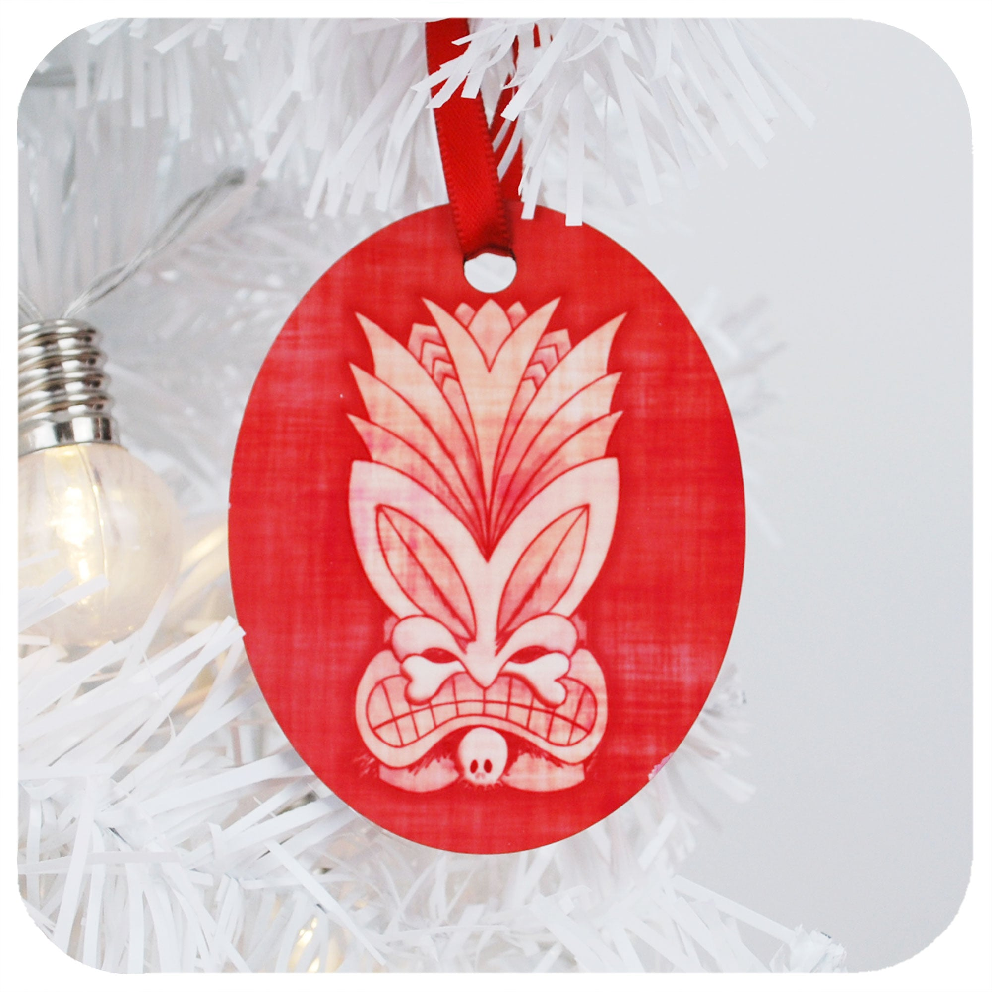 Pink Tiki Mask Christmas Decoration | The Inkabilly Emporium