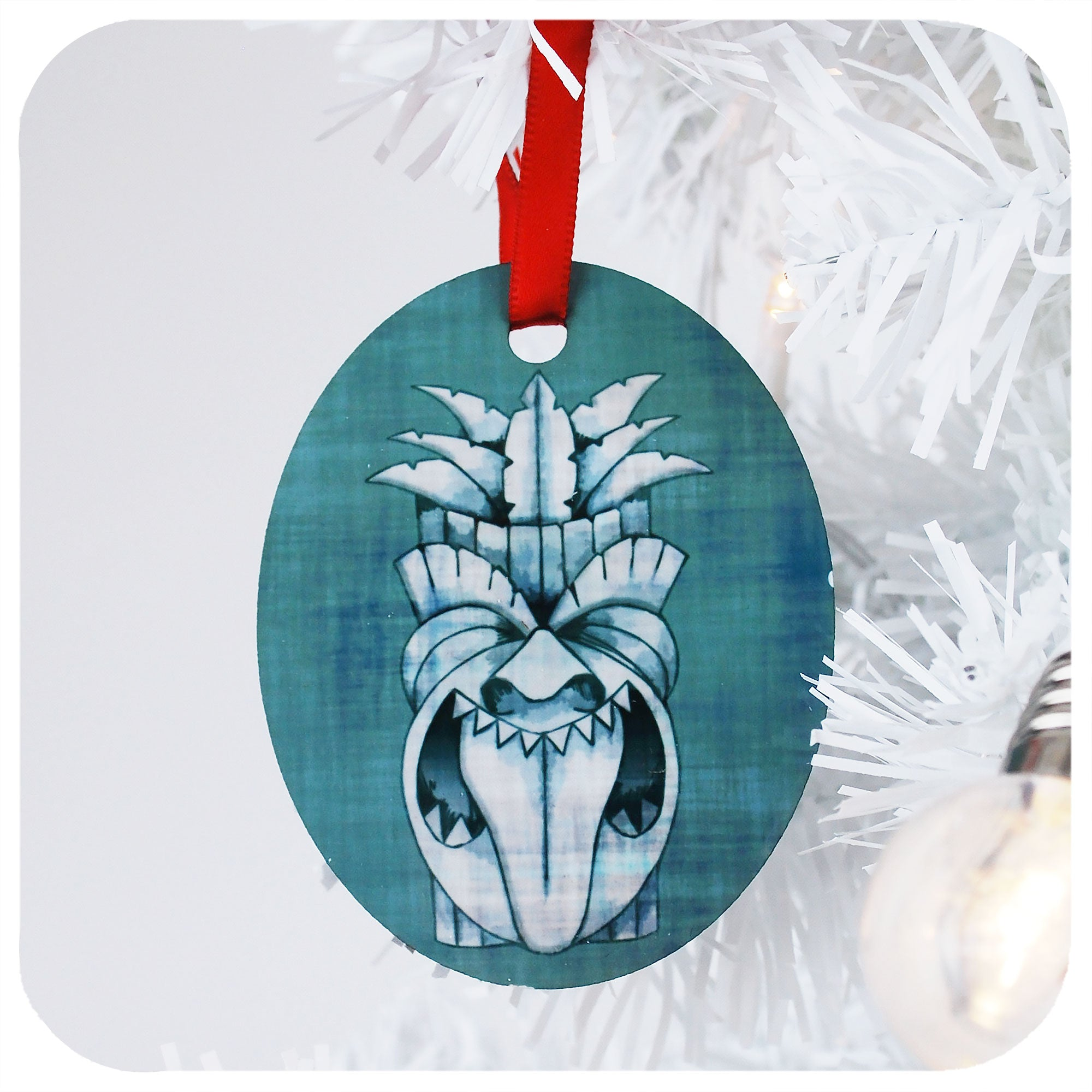 Blue Tiki Mask Christmas Decoration | The Inkabilly Emporium