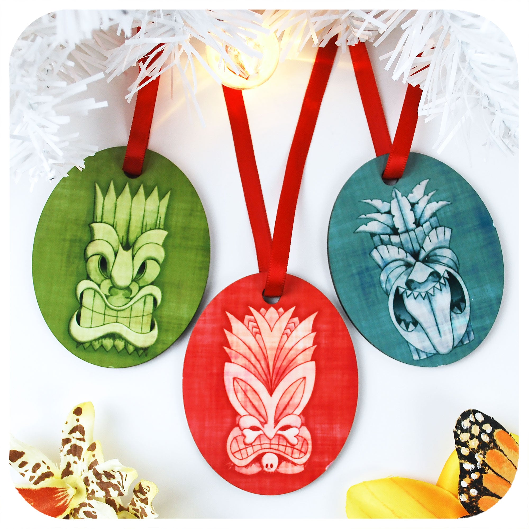 Tiki Christmas Tree Decorations - Set of 3 | The Inkabilly Emporium