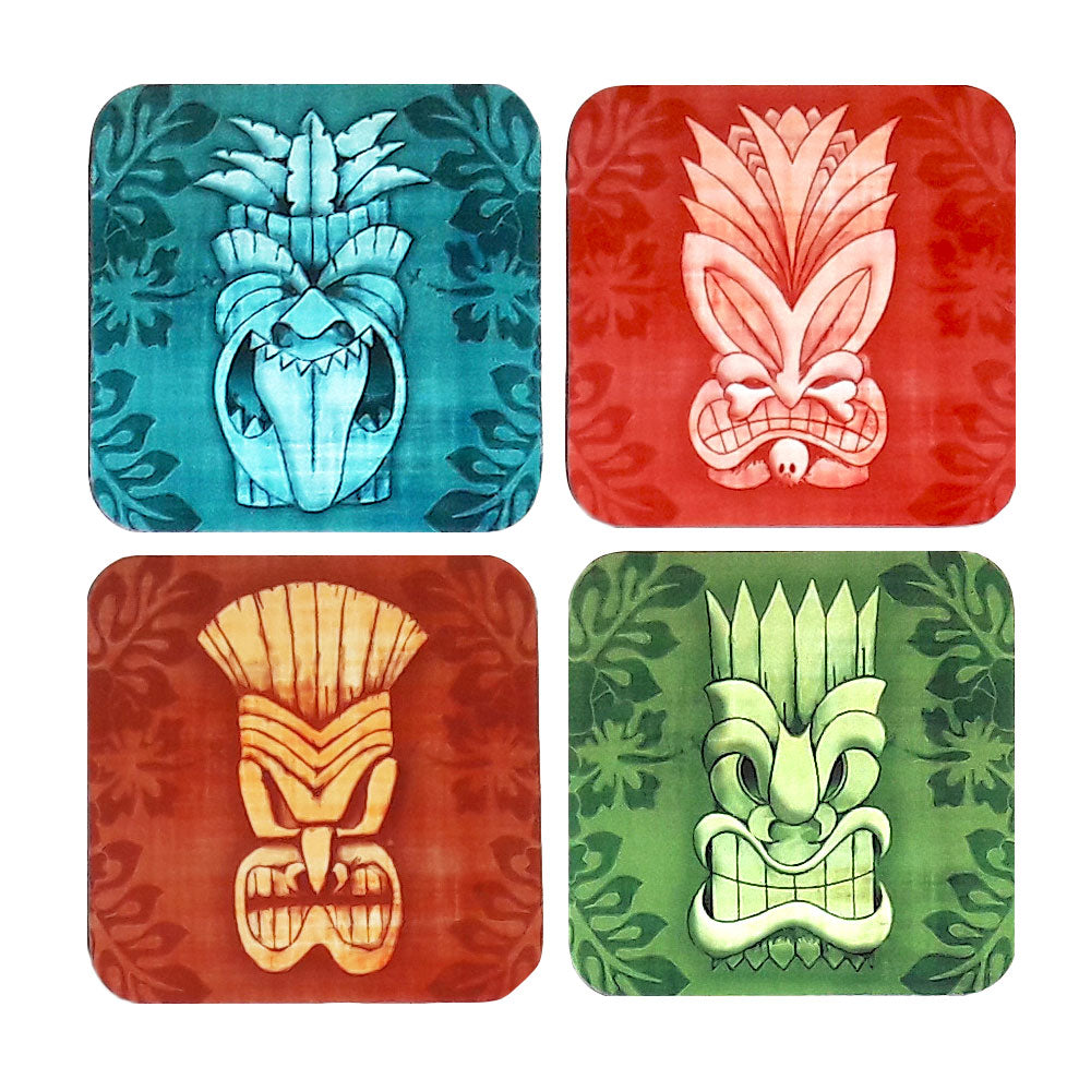 Tiki Mask Coasters, set of 4 | The Inkabilly Emporium