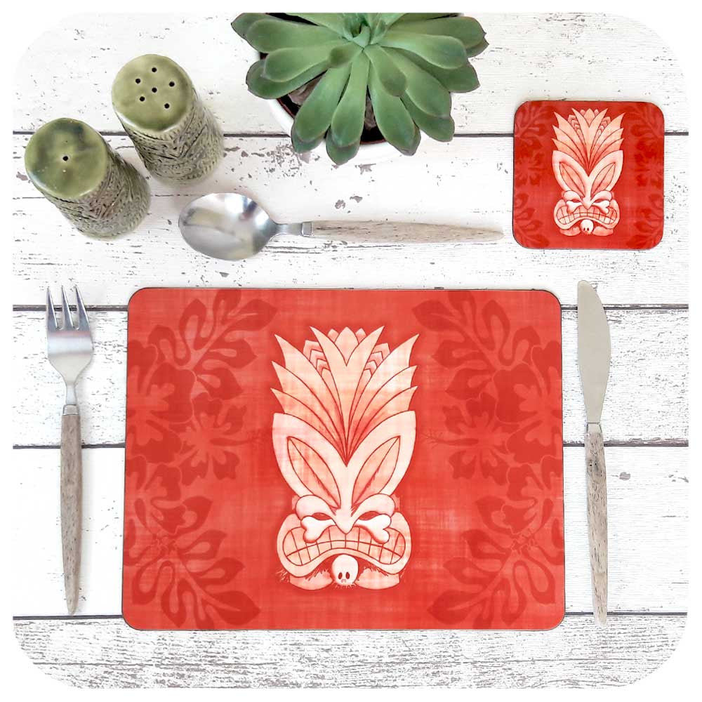 Pink Tiki Mask Placemat & Coaster Set | The Inkabilly Emporium