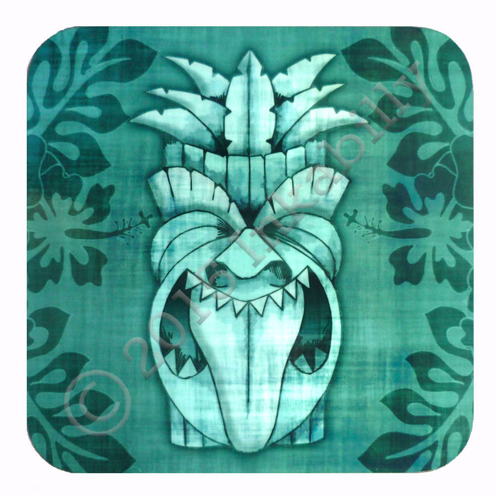 Blue Tiki Coaster by Inkabilly