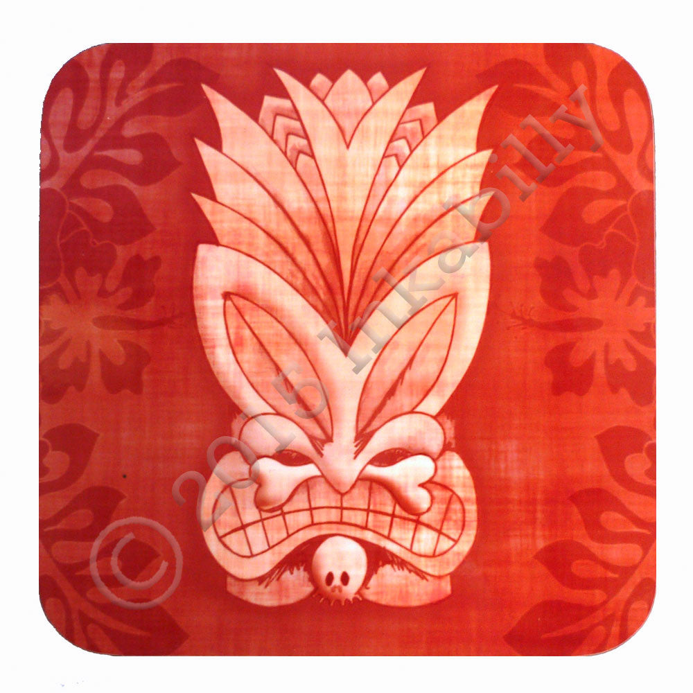Red Tiki Coaster by Inkabilly