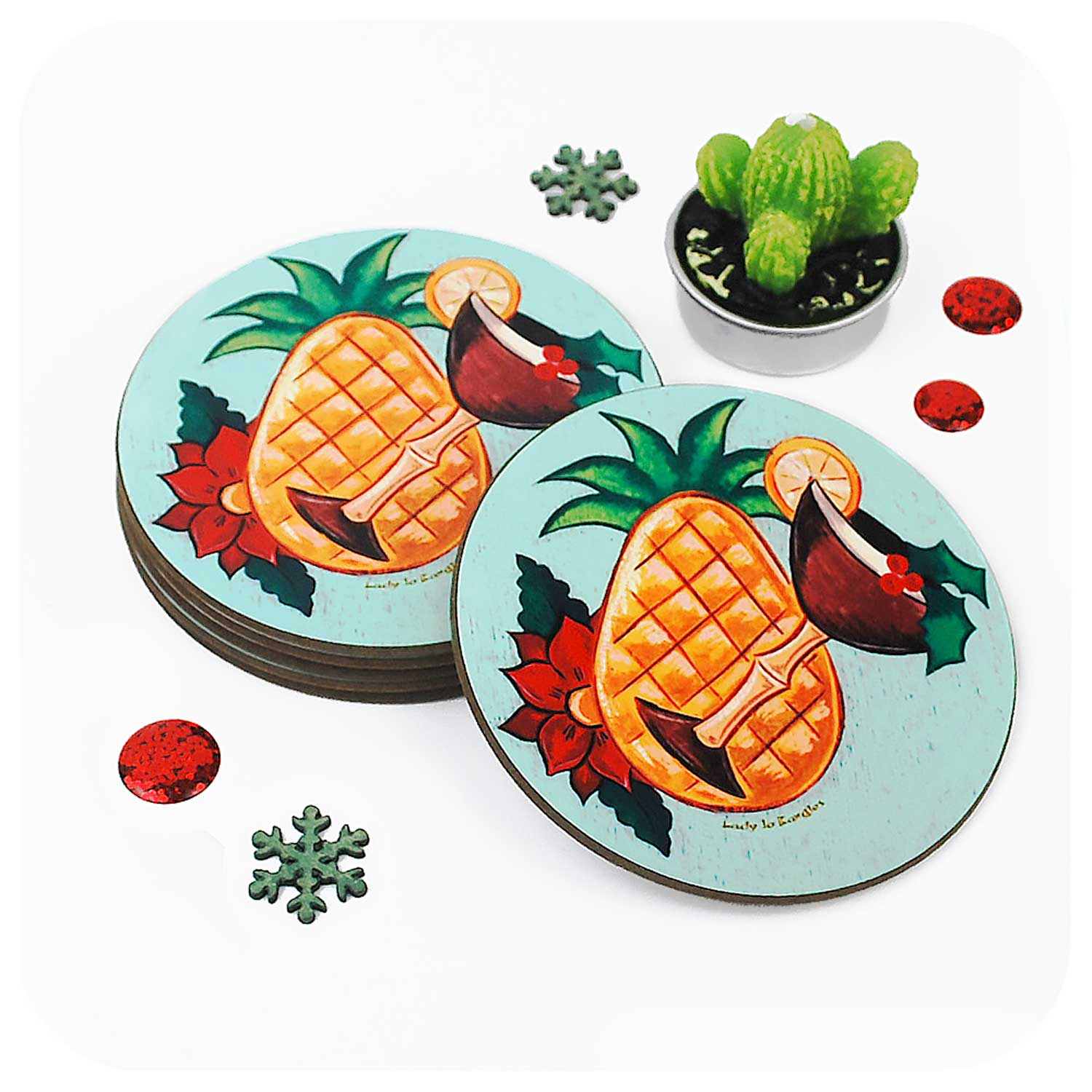 A stack of Tiki Christmas Cocktail Coasters  | The Inkabilly Emporium with LadyJo Bangles